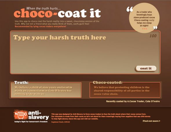 Anti Slavery Choco coat App