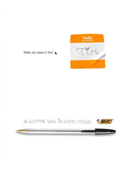 bic hello my name is tim