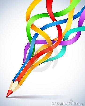 modelo creativo con el l aacutepiz y la cinta coloreada thumb16055818